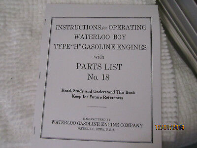 1923 Waterloo Boy H model 2-5HP Gas Engine Instruction/Parts  Manual