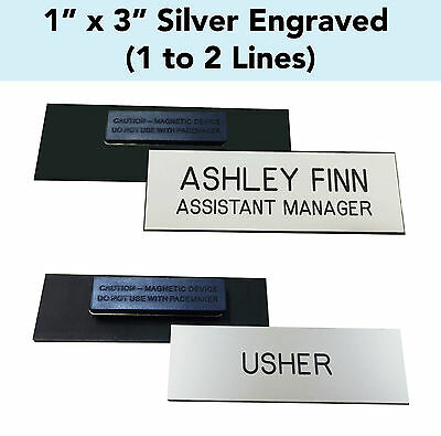 """CUSTOM ENGRAVED SILVER - 1"""" x 3"""" Name Badge Tag w/ Magnet Personalized Business"""