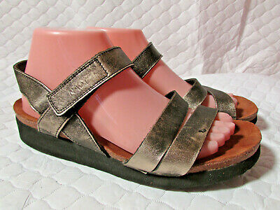 6bb776faab8a Naot Women s Kayla Metal Leather Three Strap Wedge Sandals - Size 40   US 9