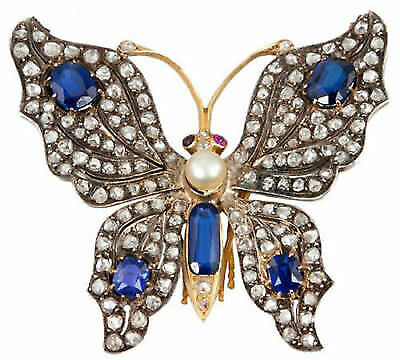 58ee0d698 Butterfly Design Vintage Style 4.25Ct Rose Cut Diamond Silver Brooch/Pendant  me6