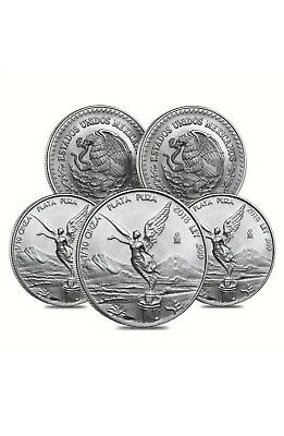 Lot of 5 - 2015 1/10 oz Mexican Silver Libertad Coin .999 Fine BU Low Minted