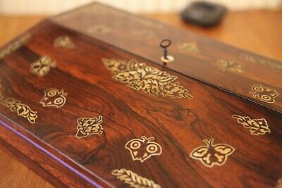 Elegant, decorative, inlaid Rosewood writing slope, Stunning piece 1860-1880