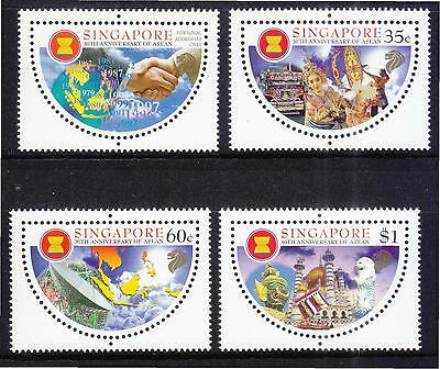 Singapore 1997 30Th Anniv. Of Asean  (Semi Circle Shape) Comp. Set 4 Stamps Mnh