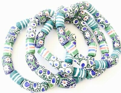 Handmade Ghana Fancy Green multi bracelet-African Trade Beads-Ghana