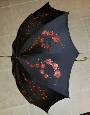 Vintage Ladies Umbrella Parasol ~ NYL France FMF Lyon ~ Black Floral ~ Exquisite