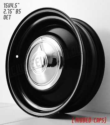 "15"" X 4.5"" Smoothie Black Steel Wheels Chev Holden Hq Hx Wb  Kingswood Front"