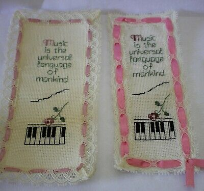 hand made embroidered book marks x2 MUSIC UNIVERSAL LANGUAGE MANKIND piano keys