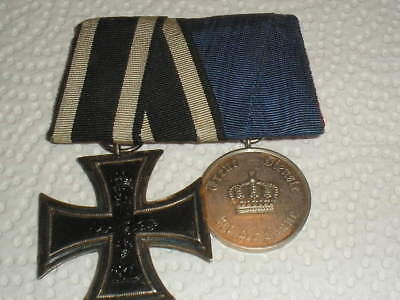 Medal Ww1 German Group Of 2 Medals - Iron Cross 2Nd Class + 9 Year Treue Dienst