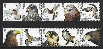 Great Britain 2019 Birds Of Prey Set Of 10 In 2 Strips Of 5  Fine Used