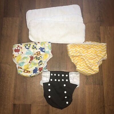 LOTUS BUMZ Infant Cloth Pocket Diapers Adjustable Unisex w/ Inserts Lot of 3