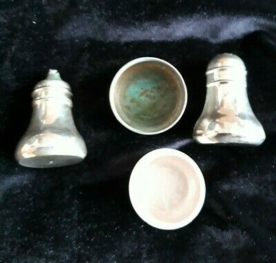 Vintage silver plated EPNS cruet set with a RARE cream ceramic Mustard Pot