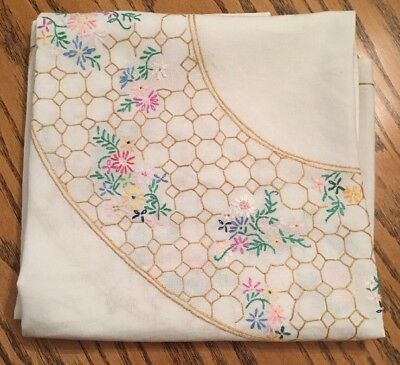 """Exquisite Vintage Tablecloth Embroidered Colourful Flowers Cream Linen VGC 50"""""""