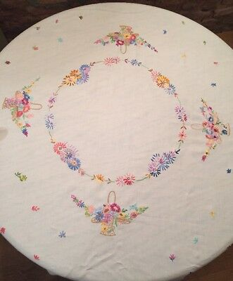 """Exquisite Vintage Tablecloth Embroidered Colourful Flowers White Cotton VGC 53"""""""