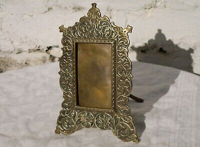 Nice Ornate Antique Victorian ? Brass Picture Frame With Easel Support