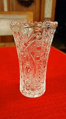 Vintage Heavy Pressed Brilliant Clear Glass Vase 5""