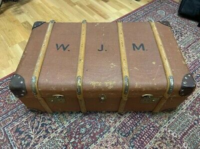 Large Vintage Bentwood Cabin Travel Steamer Luggage Trunk/Coffee Table Antique