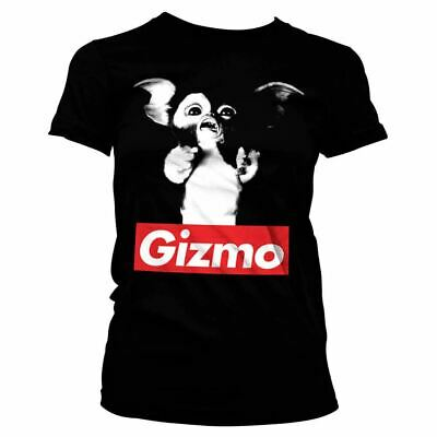 Womens Retro Gremlins Gizmo Black Fitted T-Shirt Tee - Cute 80s Movies Ladies