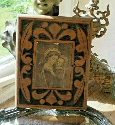 Beautiful Antique French Carved Wooden Plaque ~ Madonna & Child Vignette  C 1900