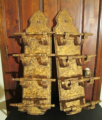 Vintage Wrought Iron Medieval Wood Wine Rack Antiqued Gold Gothic Bottle Shelf
