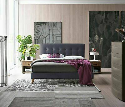 Novara Fabric Modern Dark Grey Bed Frame Scandinavian Retro Various Sizes
