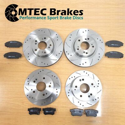 Fits Subaru IMPREZA ESTATE SALOON Drilled Grooved FRONT Brake Discs BREMBO Pads