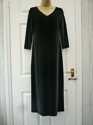 Vintage M&S St Michael Ladies Size 10 12 Black Velvet Snake Stretchy Midi Dress