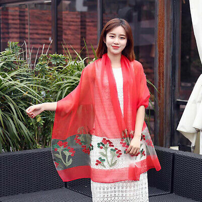 Women's Printed Hijab Scarf Chiffon Hollow Out Large Head Shawl Wrap Scarves 6A
