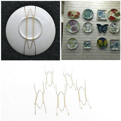 5x Plate Wire Hanging White Hanger Flexible With Spring Walls Display&Art DecorE