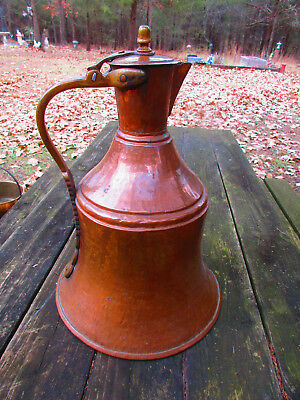 "Large Antique Solid Copper 18-1/2"" Hand Hammered Water Pitcher Brass Handle"