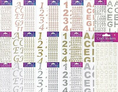 Self Adhesive Glitter Diamante Letters Number Alphabet Stickers Gold Rose Silver