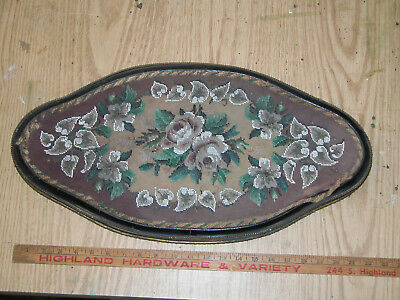 ANTIQUE VICTORIAN BEADWORK & WOOLWORK FLORAL EMBROIDERY TRAY c1860- 1870