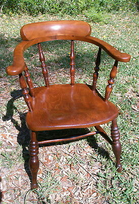 Antique 1840s Captain's Chair, Handcrafted Elm, home or office