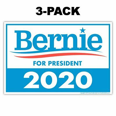 (3-Pack) Political Campaign Yard Sign, Bernie Sanders 2020, Double-Sided, 18x12