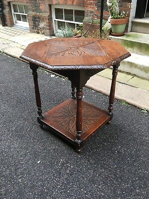 Victorian Carved Oak Octagonal Centre or Window Table