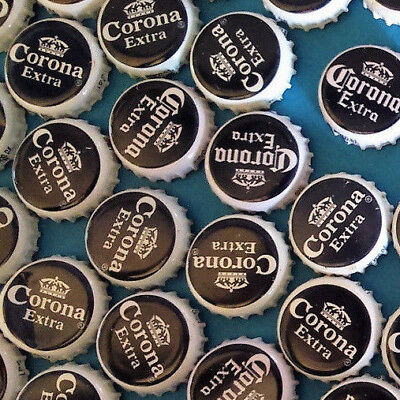 15 Corona Extra Beer Bottle Tops Metal Caps Craft projects Black & White Crown