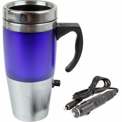 HEAVY DUTY Stainless Steel 12V Heated Thermal Travel Mug Flask Car USB Charger