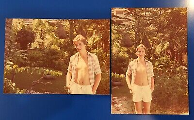 Lot 2 VINTAGE COLOR PHOTO Young Man Shorts Open Shirt Gay Interest S1069
