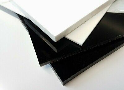 Black and White Acrylic Perspex Sheet Custom Cut To Size Panels Plastic