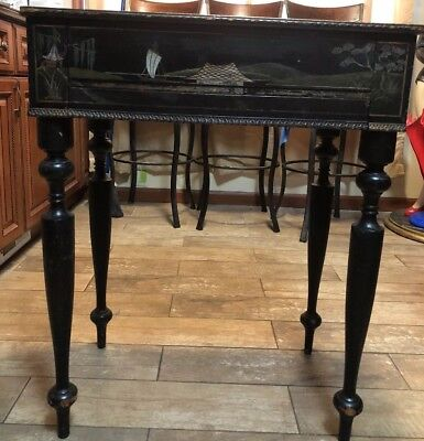 Asian CHINESE BLACK Desk Gorgeous Fully Opens 19Th CENTURY