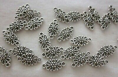 20 Antique Silver Floral Connectors 15x7mm Double Sided #2753
