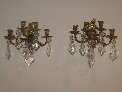 Pr. Antique ornate 5 candle Bronze French sconces decorated with gorgeous prisms