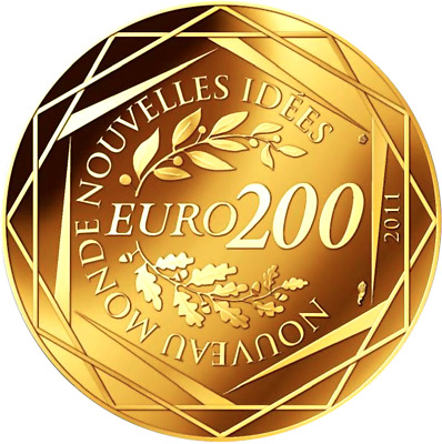 200 € OR G20 2011 Monnaie France Euros Frankreich Political Coin OBAMA 100 Ex.
