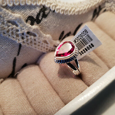 Rubelite quartz solitaire ring set in hand crafted sterling silver