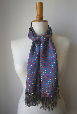 VINTAGE 1960s 60s MENS SAMMY SCARF BLUE CREAM & RED CLASSIC PRINT GOODWOOD