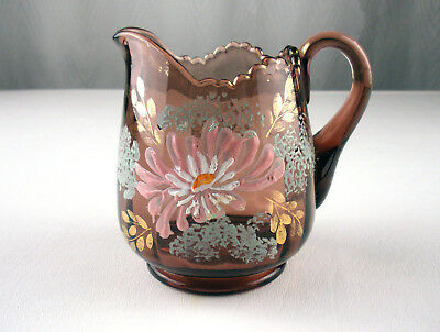 Jefferson Optic Purple Amethyst Creamer Enameled Pink Floral Decor, Antique EAPG