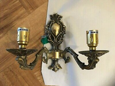 Vintage antique style Bhs solid brass ornate double wall light candle sconce