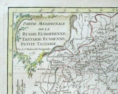 Antique De Vaugondy Map European Russia Tartary Petite Tartary 1778 Folio