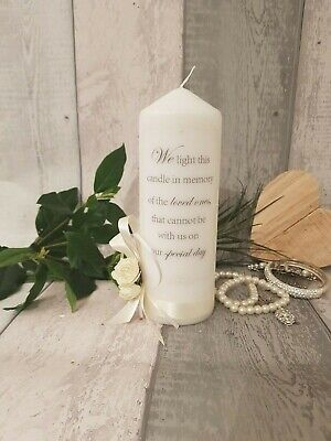 Personalised wedding day remembrance candle memorial gift in memory of 30hr burn
