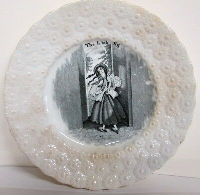ANTIQUE ENGLISH CHILD'S PLATE_THE IRISH JIG_EARLY 1800s_GREAT OLD COLLECTIBLE