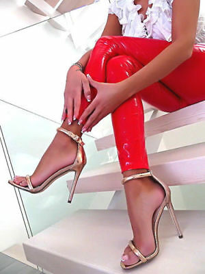 gold  sandals 13 cm Sexy fetish straps high heels 42 uk8 us10